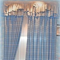 蓝色格子窗帘布规格 2.8米高  要几米拍几米
