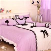 唯美浪漫100%全棉手工蕾丝多件套床品