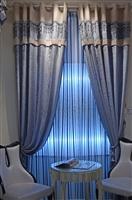 橙果布艺现代简约珠光蓝窗帘,温馨舒适,要几米拍几米