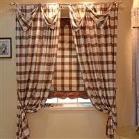 橙果布艺田园唯美咖啡色/奶茶色大格子拼接帘头纯棉布料 窗帘布艺定做