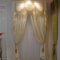橙果布艺韩式田园简约奢华客厅卧室布帘纱帘拼接绣花布艺窗帘