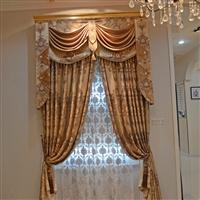 橙果布艺高档欧式客厅卧室丝绒烫金成品定制窗帘布料
