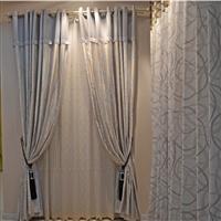橙果布艺银灰色波纹遮光 高档客厅书房卧室窗帘