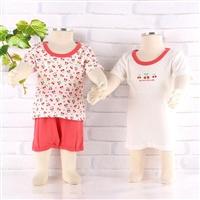 miyio 婴幼儿夏季纯棉短袖 短裤3件套(粉色)